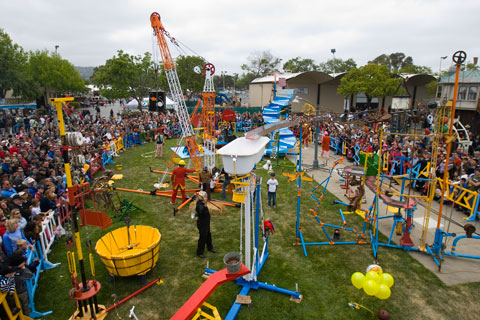 A life-size version of the children's game Mouse Trap at the Third Annual Bay Area Makers Faire in San Mateo, Calif., in 2008.
